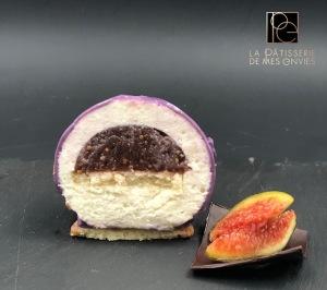 Entremet figues épicées - amande coupe 2